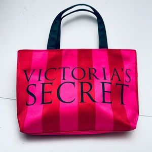 Victorias Secret Signature Satin Stripe Tote Purse